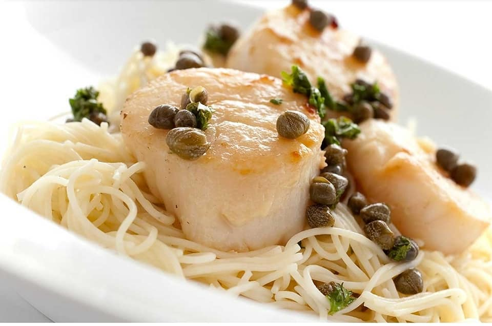 Angel hair pasta with scallops and capers