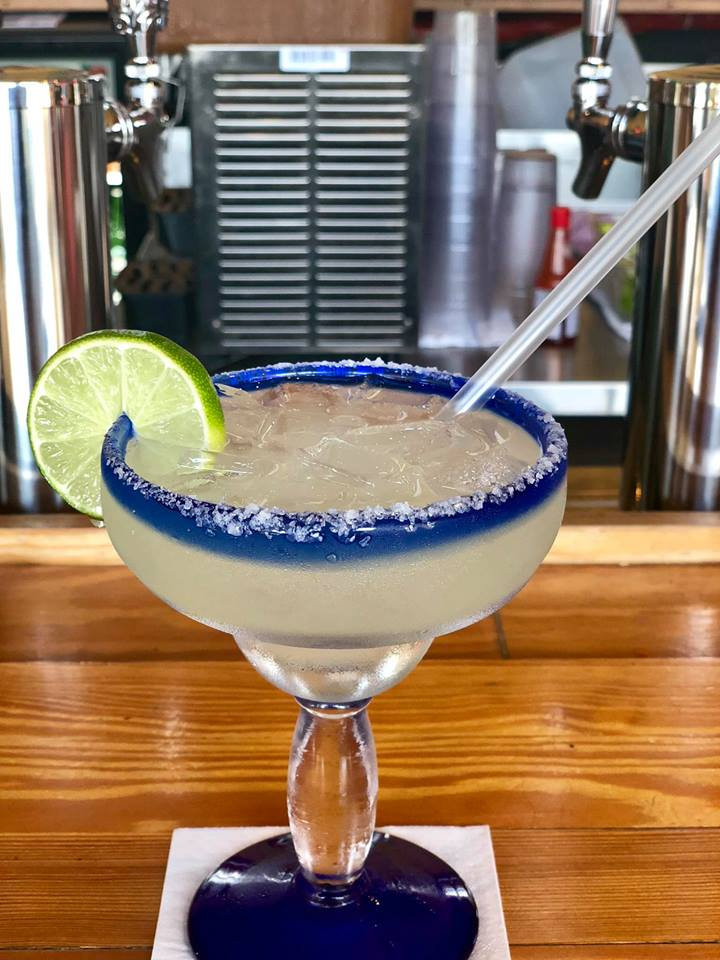Margarita with salted rim and lime