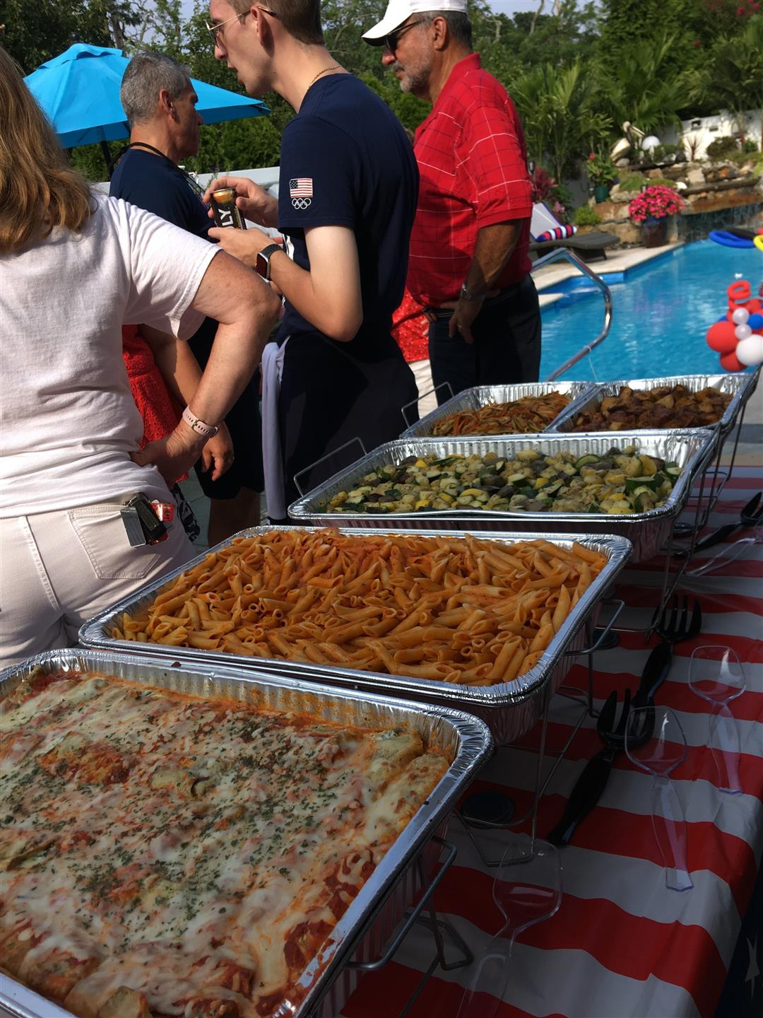 catering dishes for the celebration of Andrew Capobianco, USA silver medalist in diving