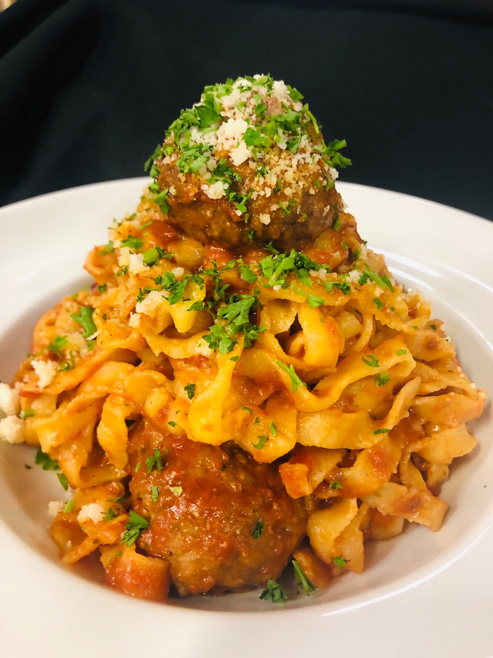 Marinara, house made meatballs & parmigiano cheese