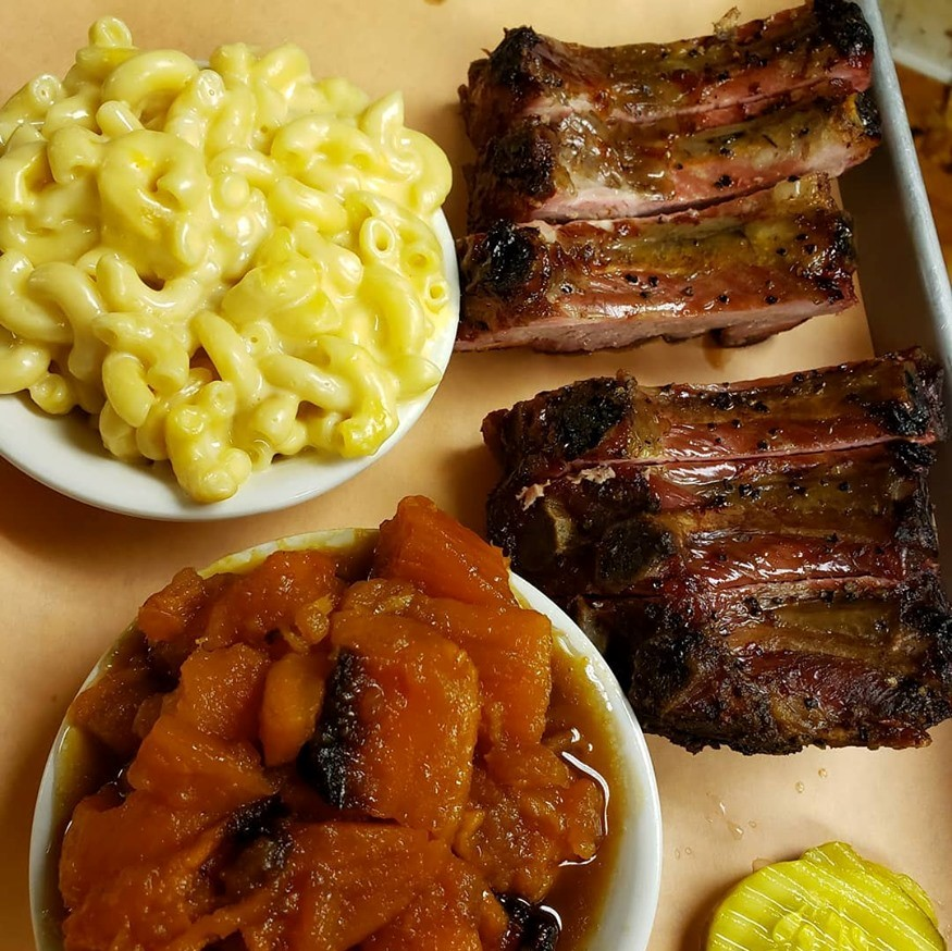 Mac and cheese, candied yams and smoked BBQ ribs