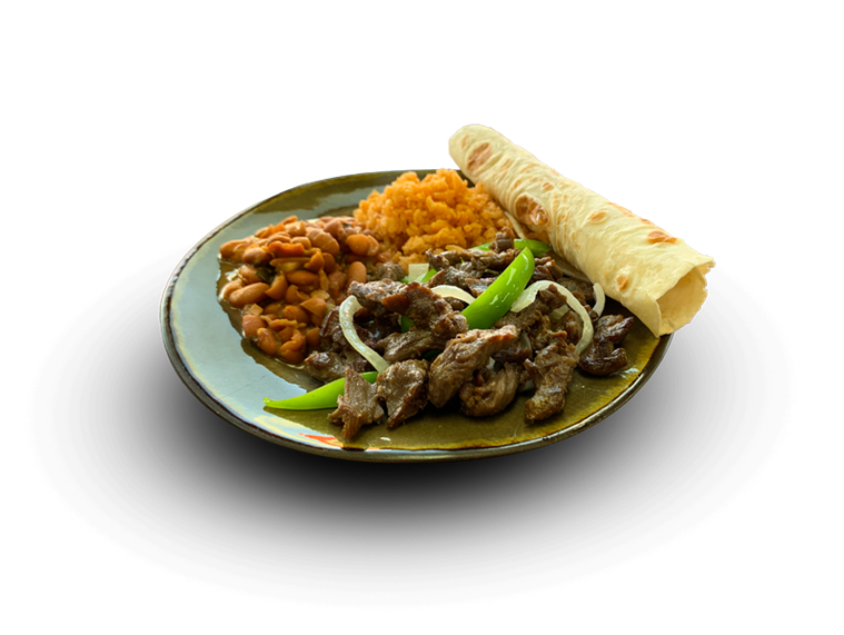 lunch plate with steak, peppers, onions and served with rice & beans and a soft flour tortilla