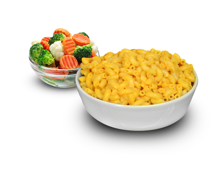 mac and cheese with a side of veggies