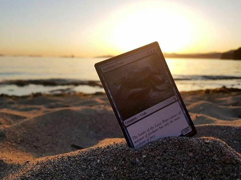 Magic the gathering card being displayed in sand at a beach.