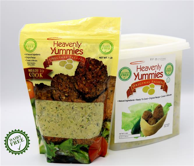 falafel ready to cook in a bag and a container