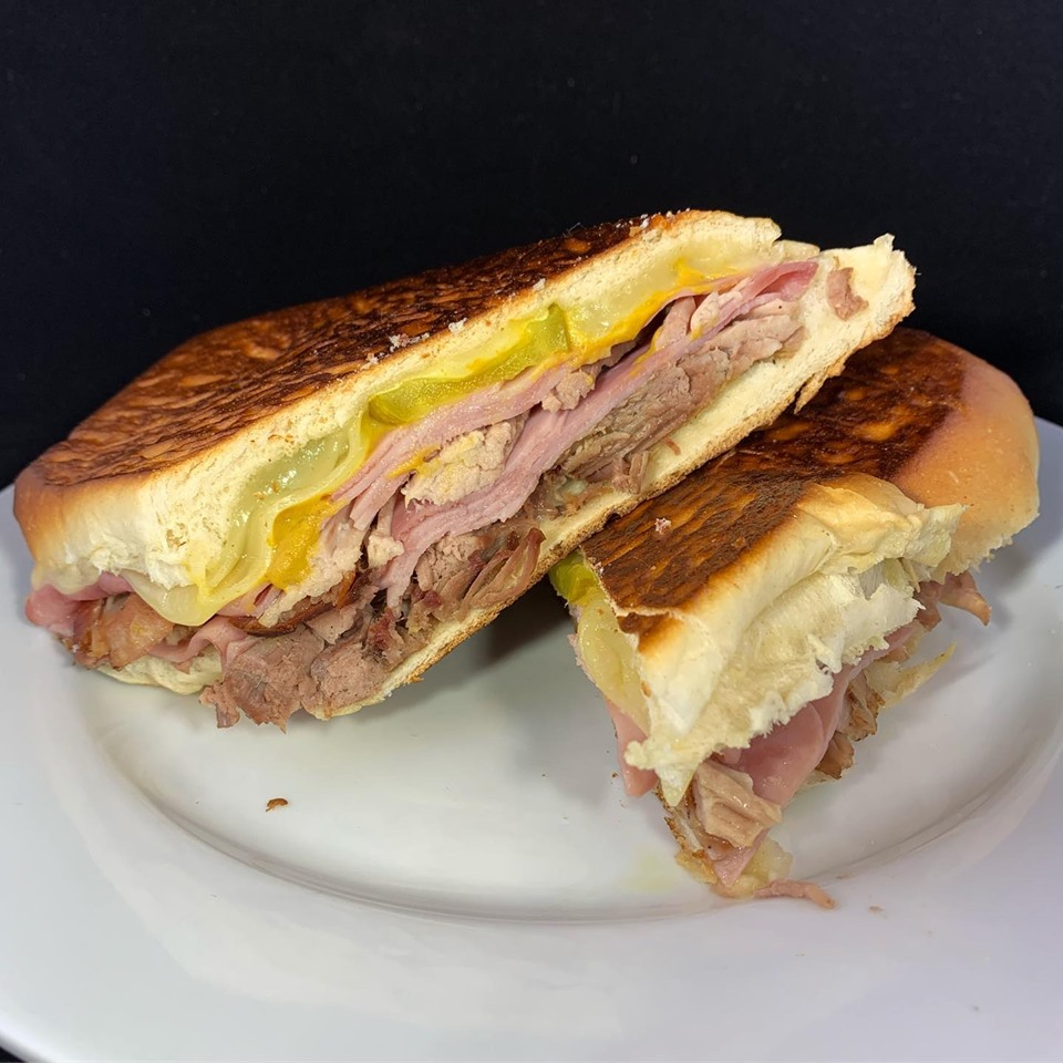 Pressed Cuban sandwich on a plate