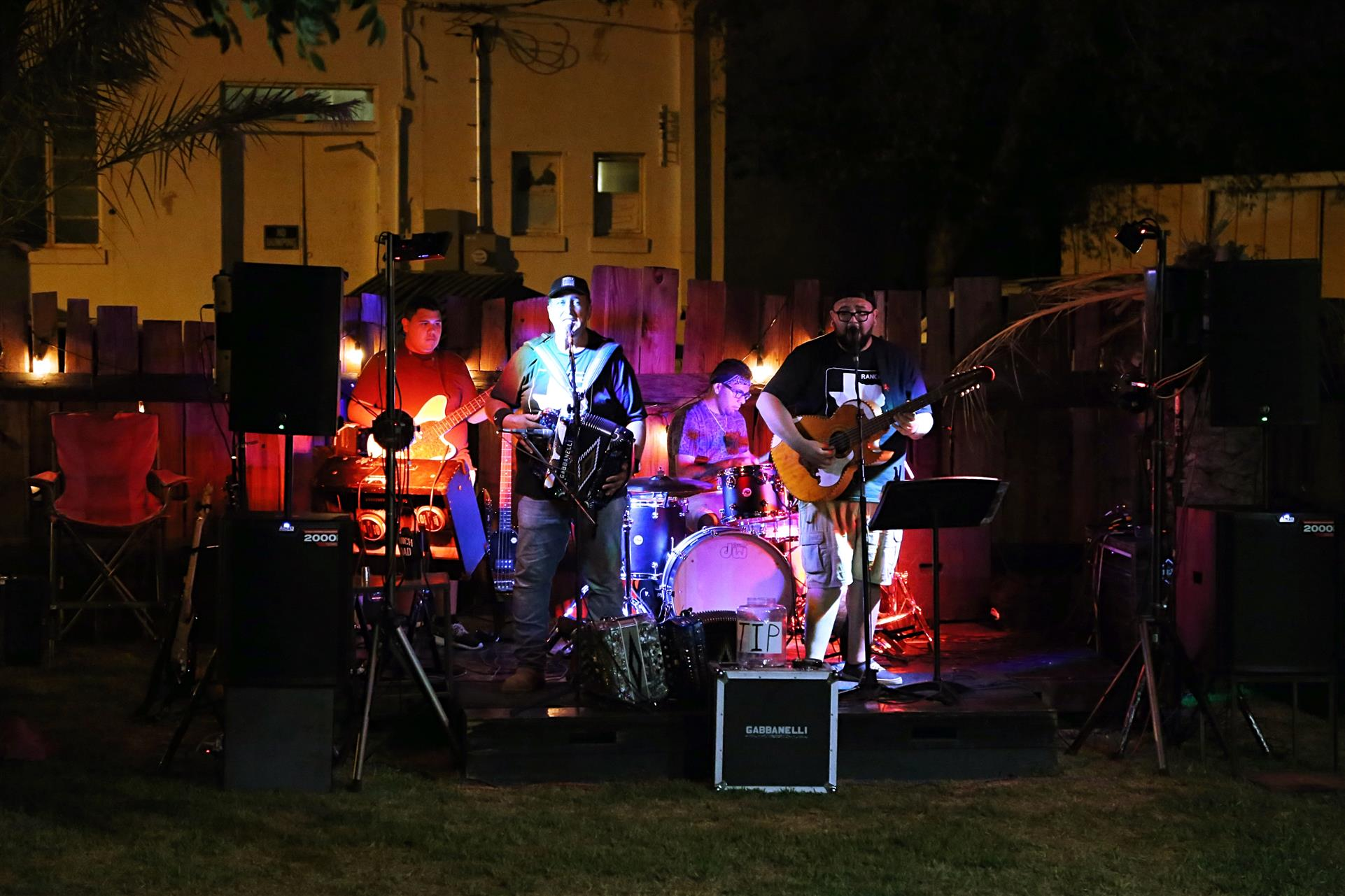 live band performing on an outdoor stage