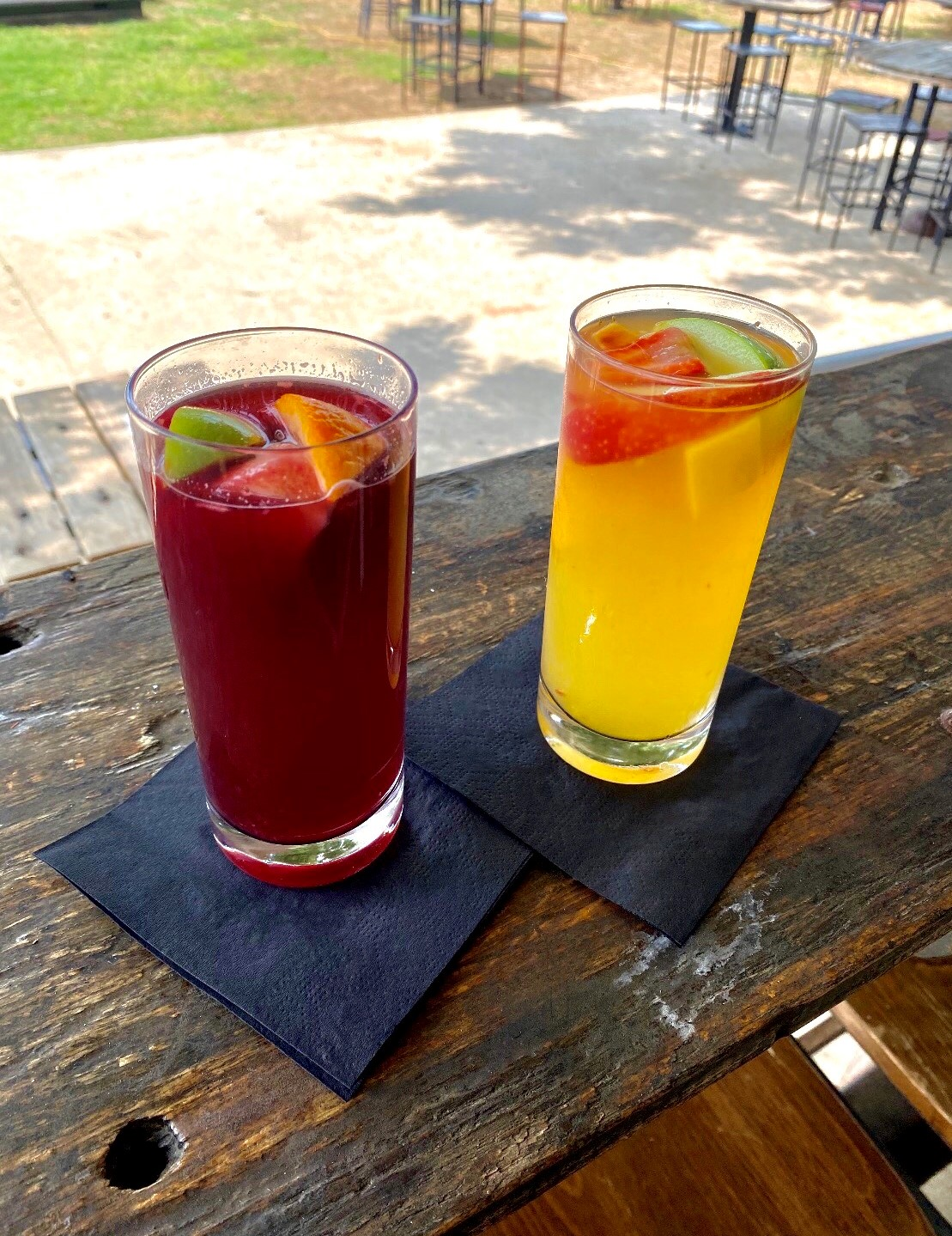 two of our red and white sangrias