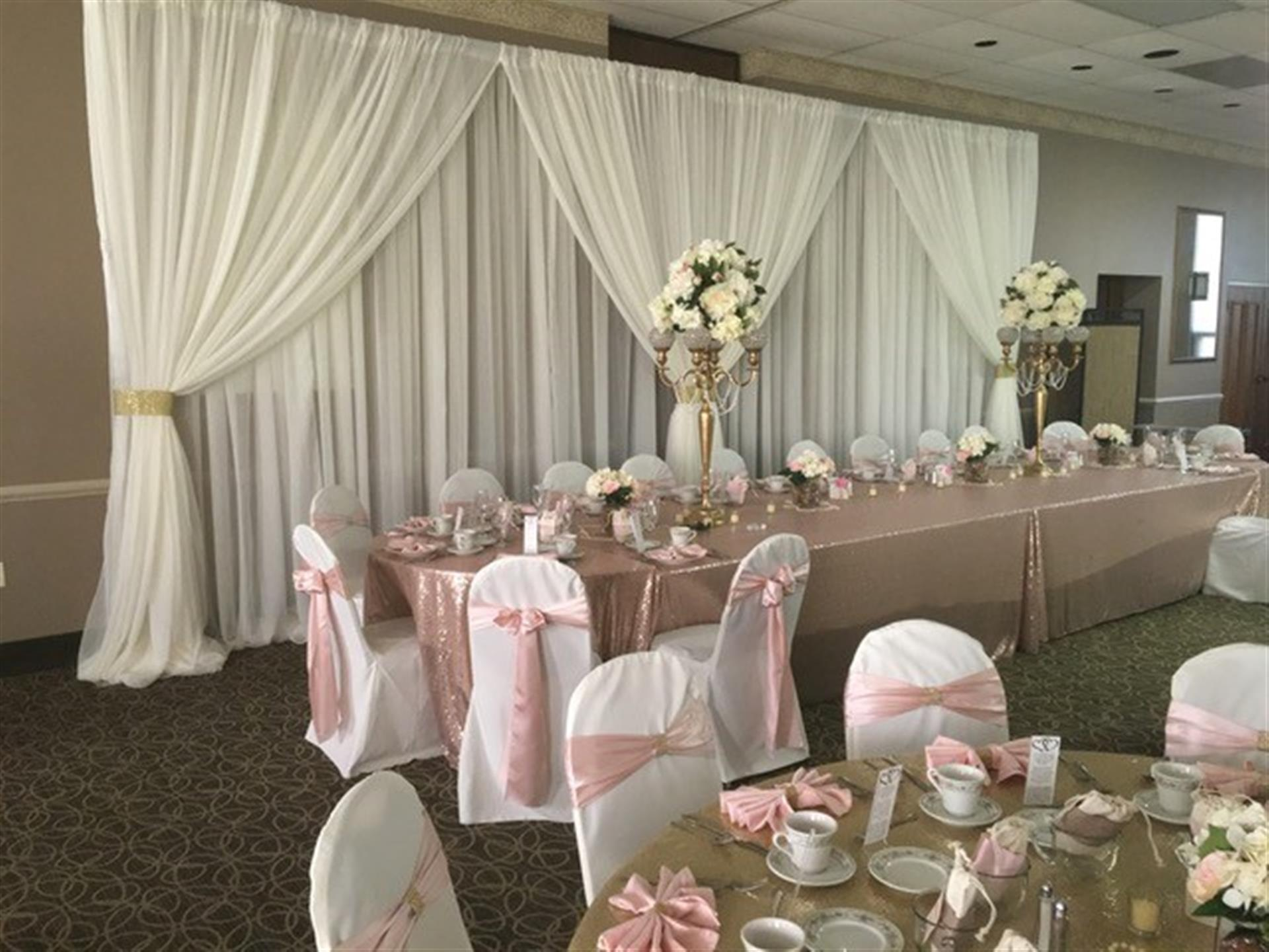 wedding party set up with pink decorations