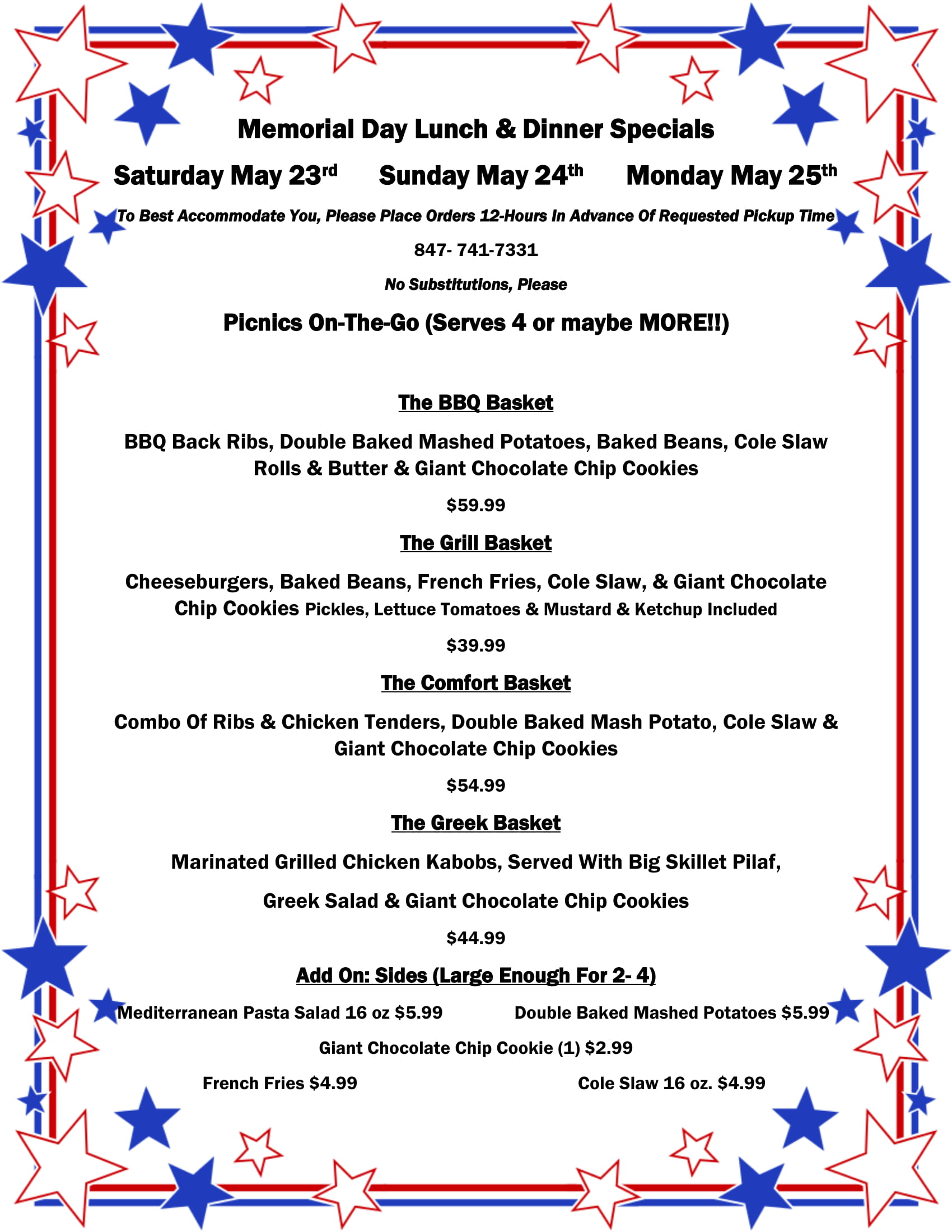 Memorial Day Lunch & Dinner Specials