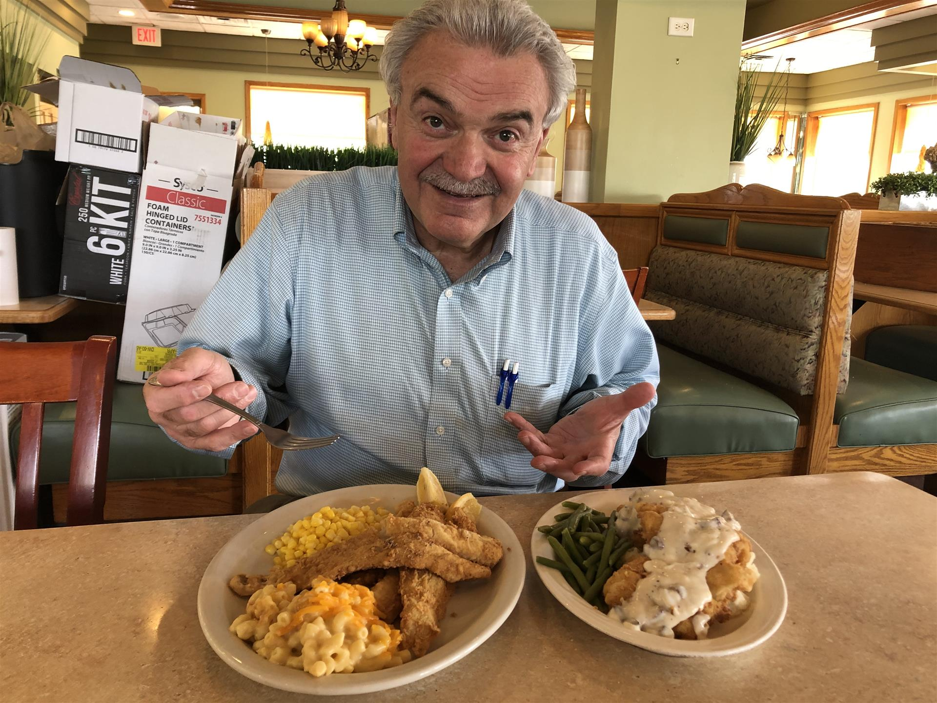 George with two fried entrees