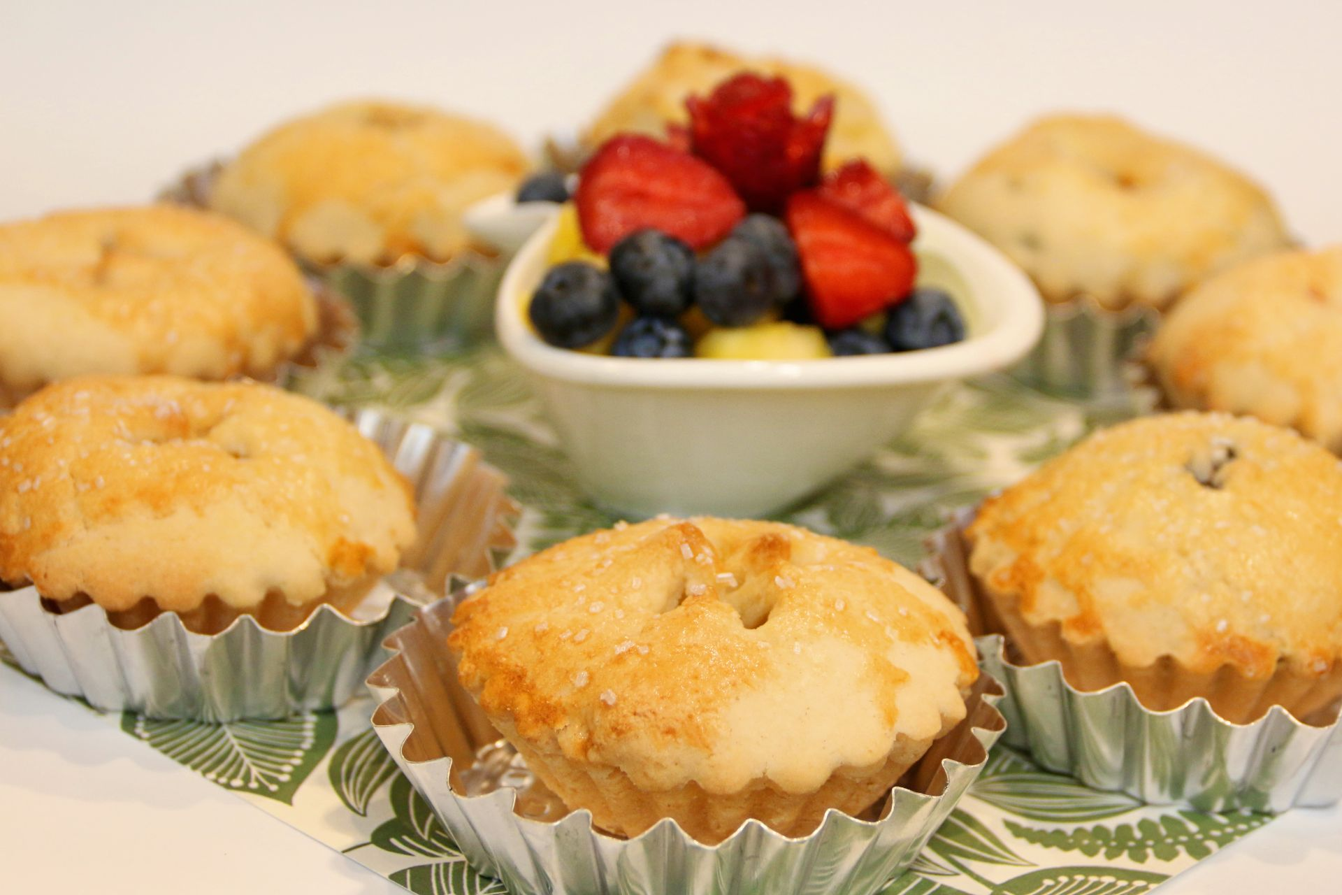 cornbread muffins served with fresh berries