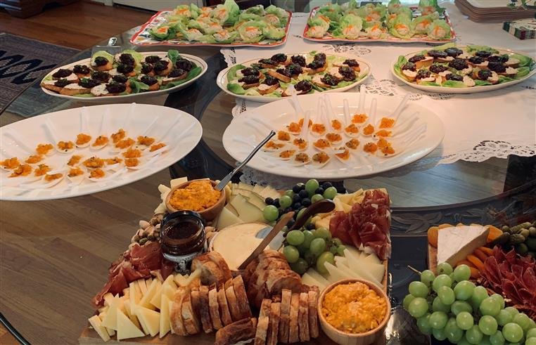 various food platters on display for a catered event