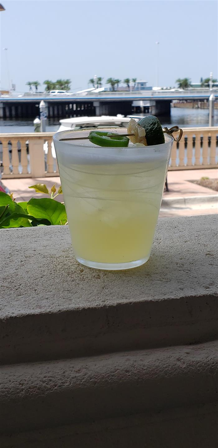 Spicy margarita on a ledge outside