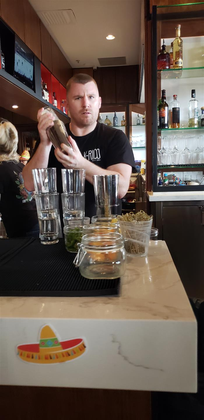employee behind the bar shaking a beverage