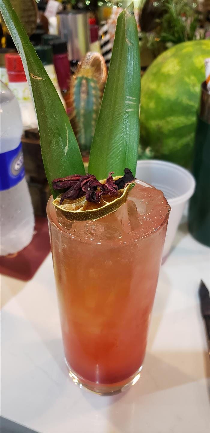 singature pink cocktail garnished with palm leaves