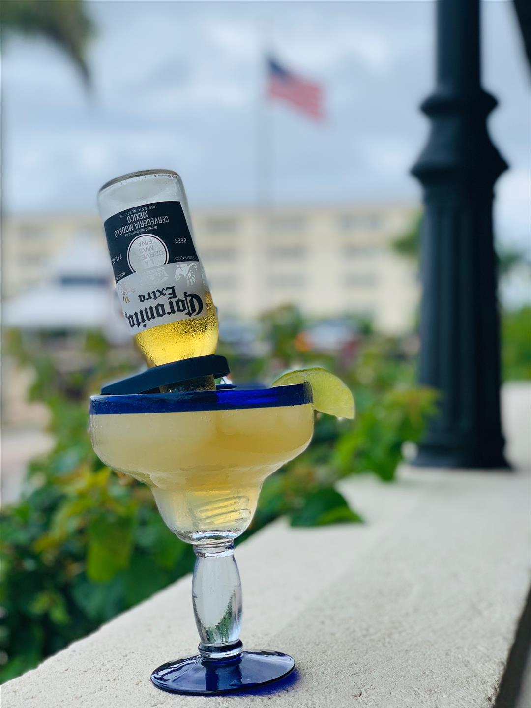 Corona margarita outside on the ledge