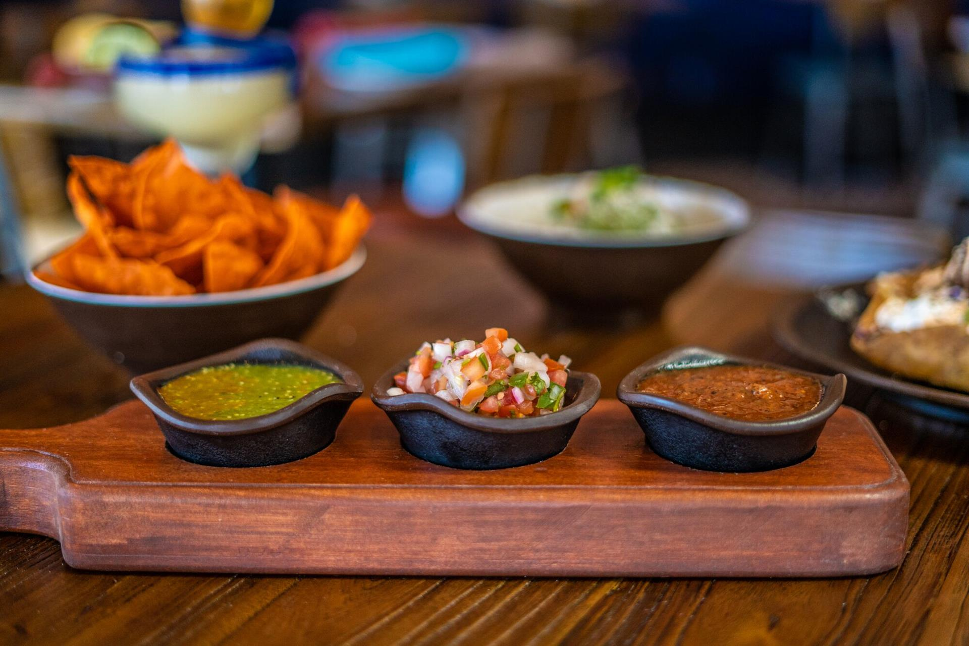Trio of salsa and chips - Rico de gallo, salsa verde and salsa roja