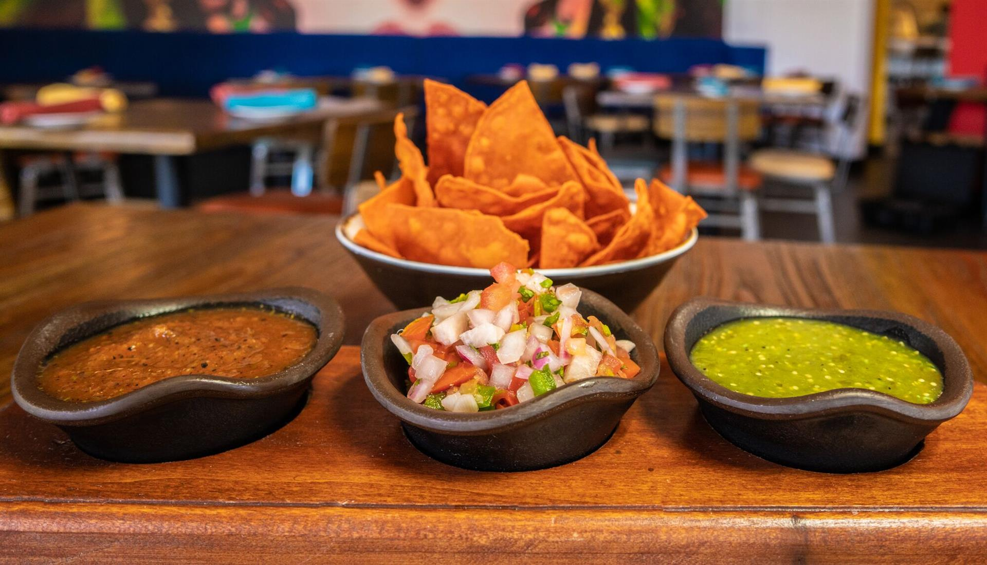trio of salsa and chips - Rico de gallo, salsa verde & salsa roja