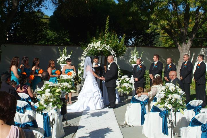 wedding reception with bride and groom under awning