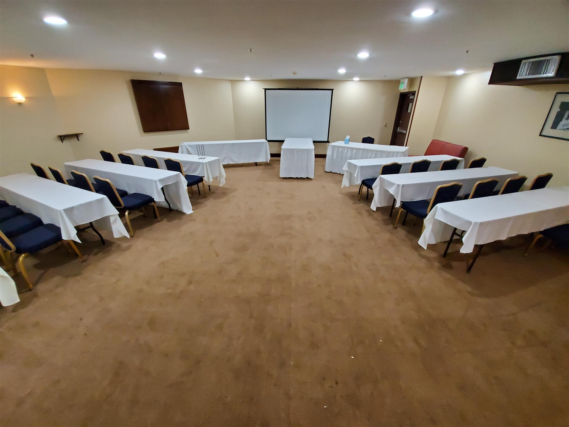 conference room set up for a corporate event