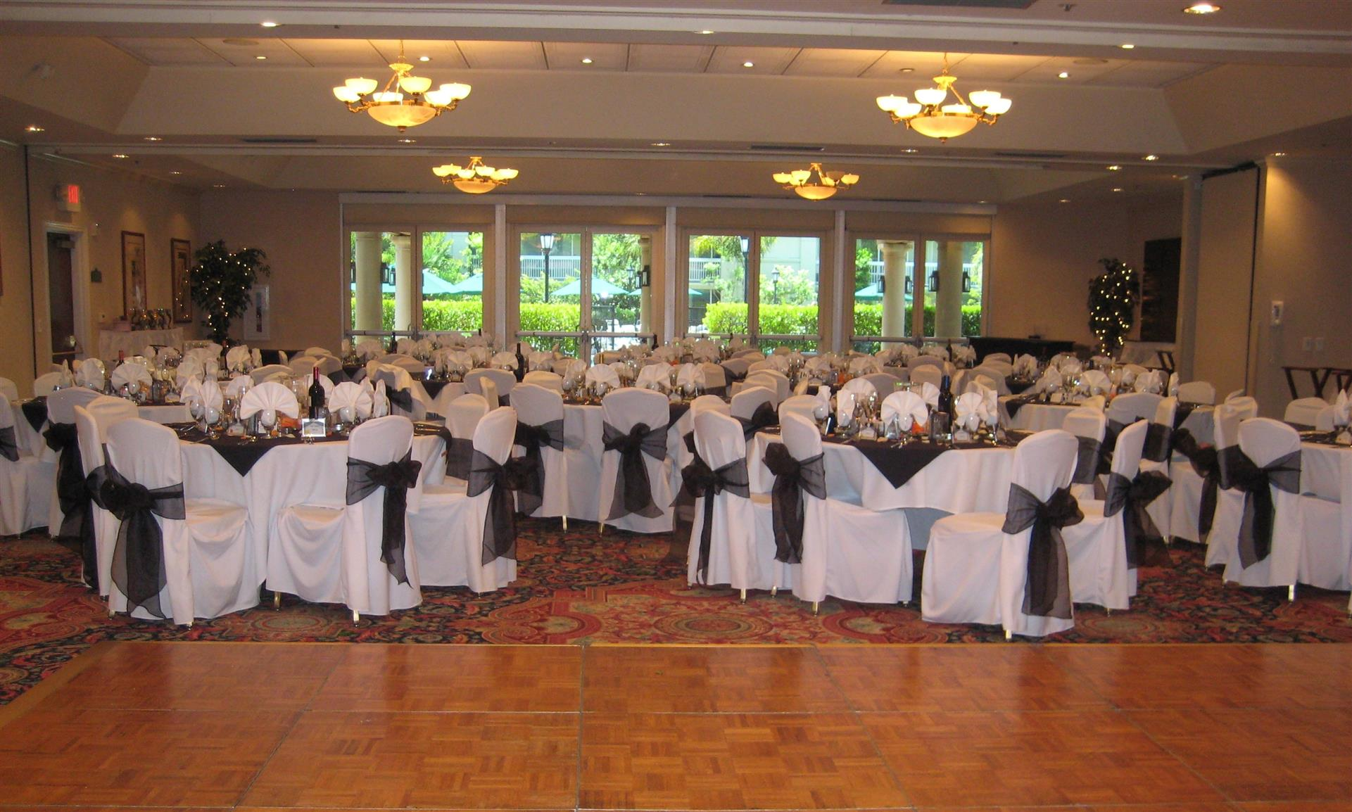 indoor private banquet room set up for a formal event
