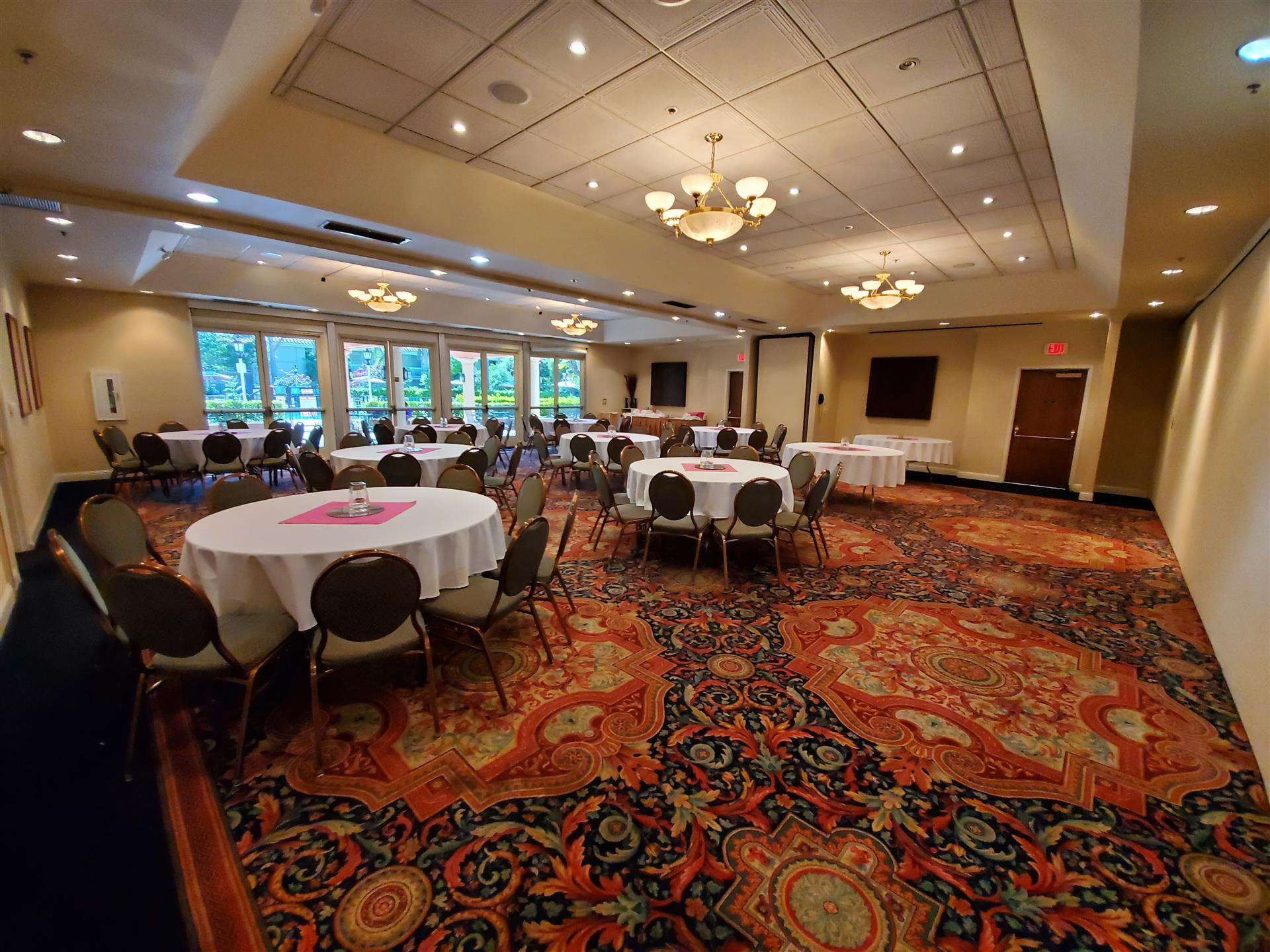 indoor private banquet room set up for a corporate event