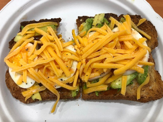 avocado toast with eggs and cheese