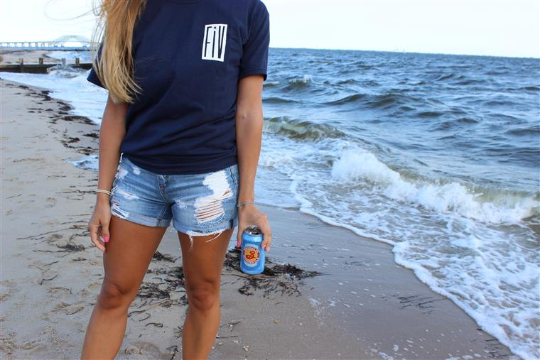 woman wearing a Fire Island Vines Navy Tee