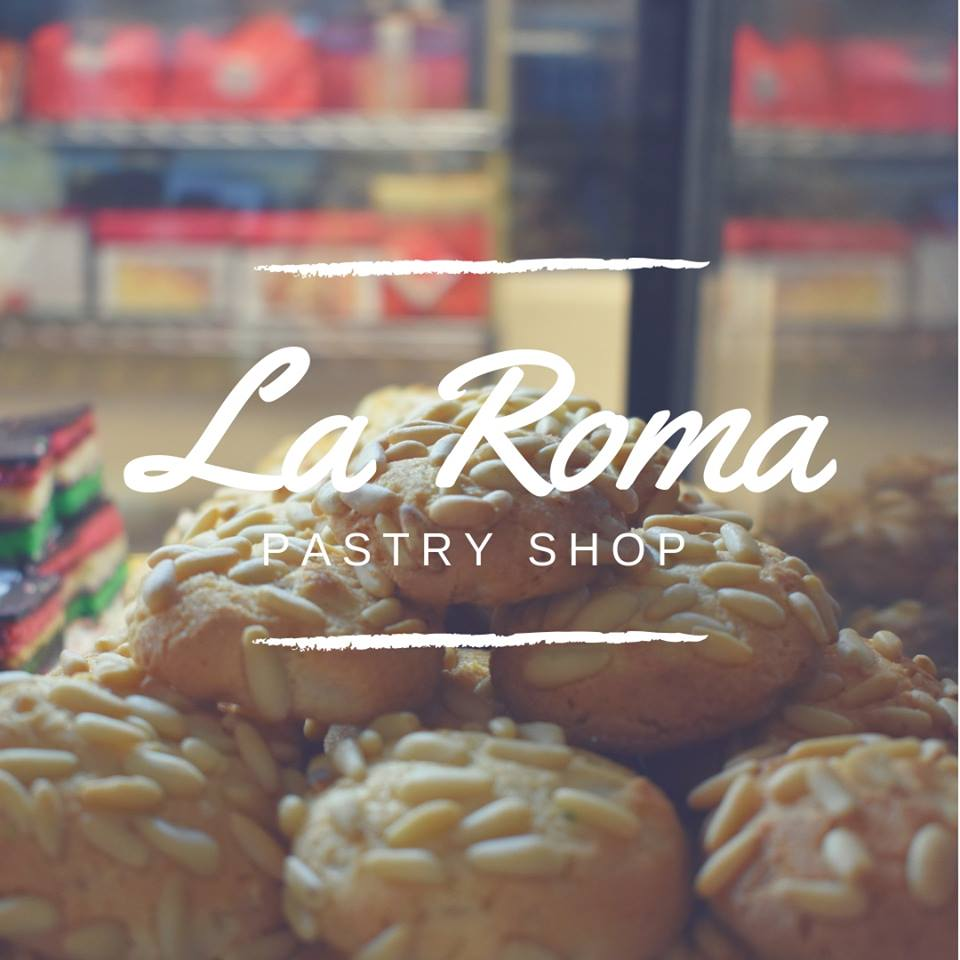 La Roma Patry Shop Logo on top of macadamia nut cookes