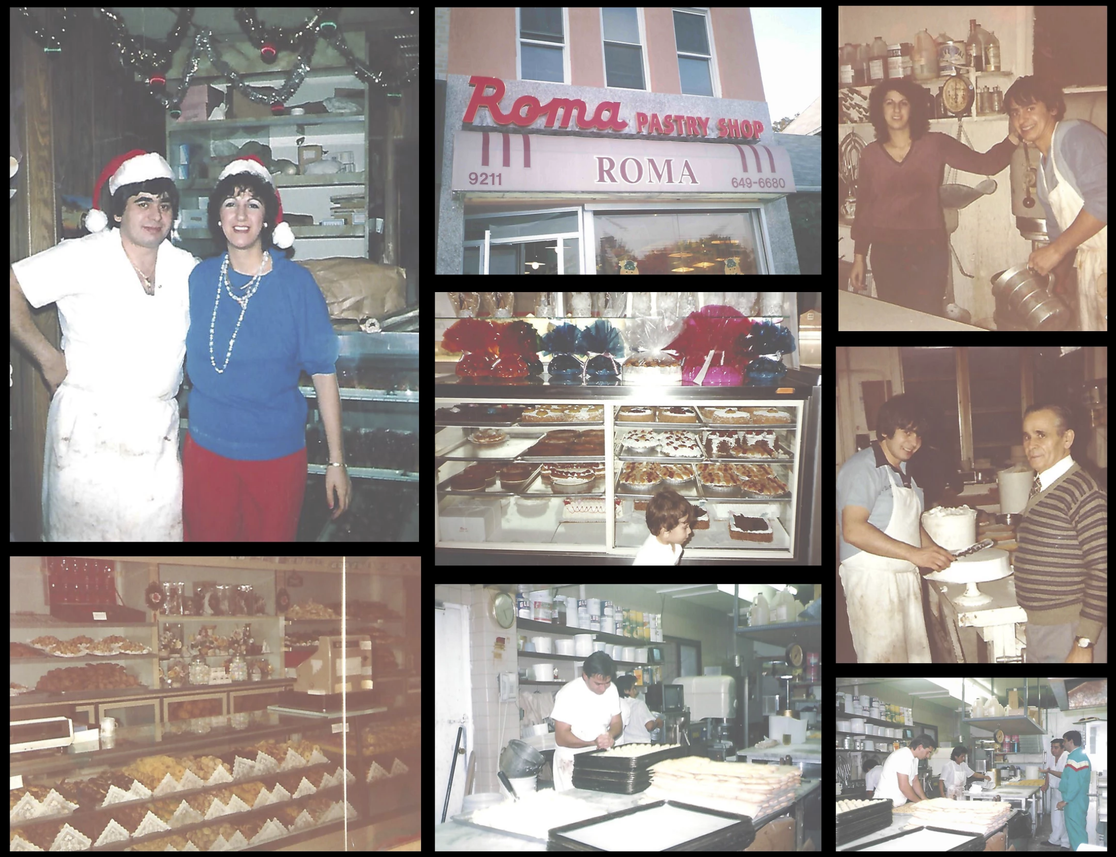 collage of photos including 2 people with santa hats on smiling, outside photo of Roma Pastry Shop, 2 people smiling at the camera, a photo of the different pastries behind the glass and staff members serving customers