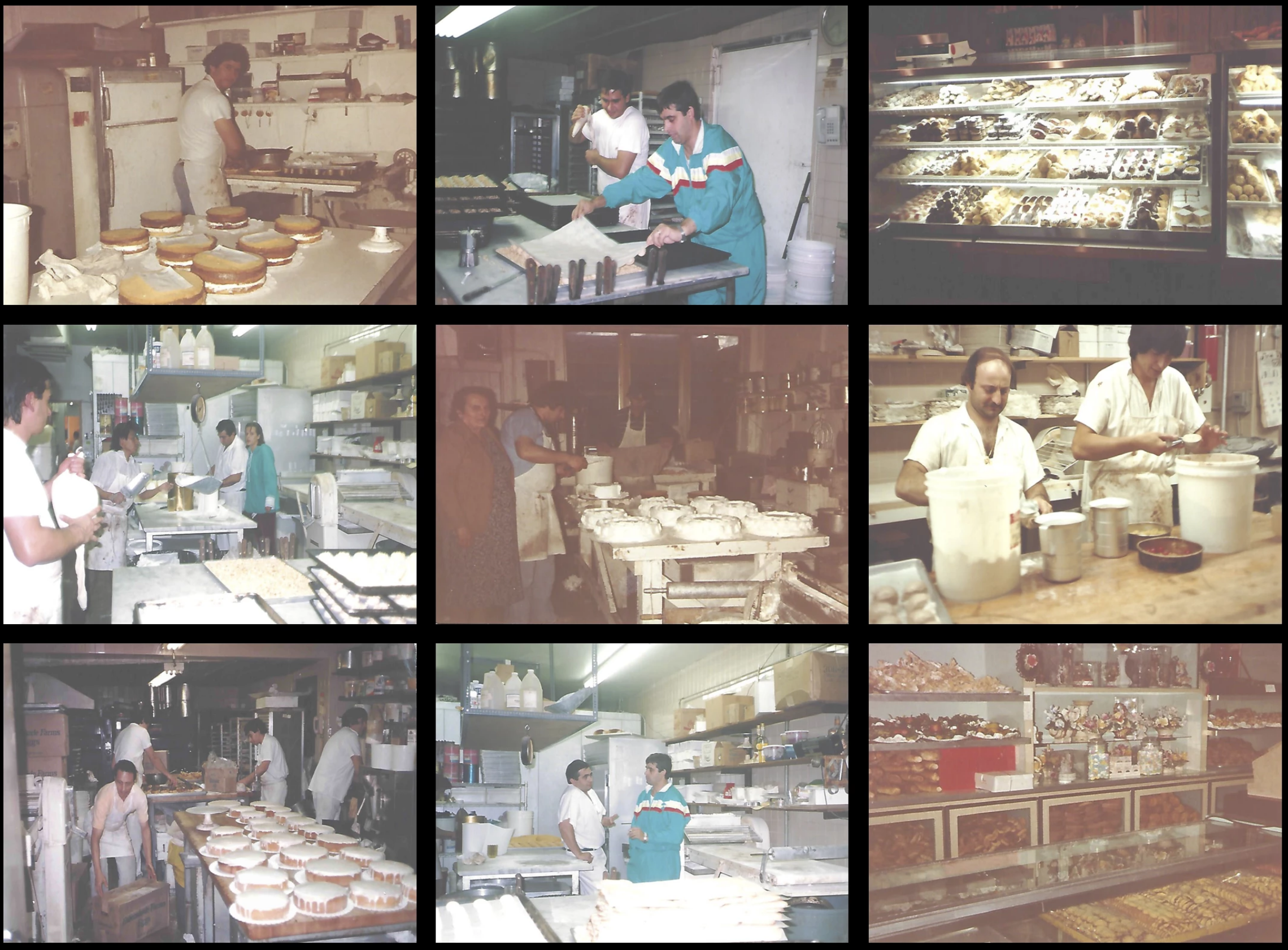 collage of photos including a staff member making cakes, 2 staff members frosting pastries, a photo of the different pastries from behind the glass counter, staff members baking together in the kitchen