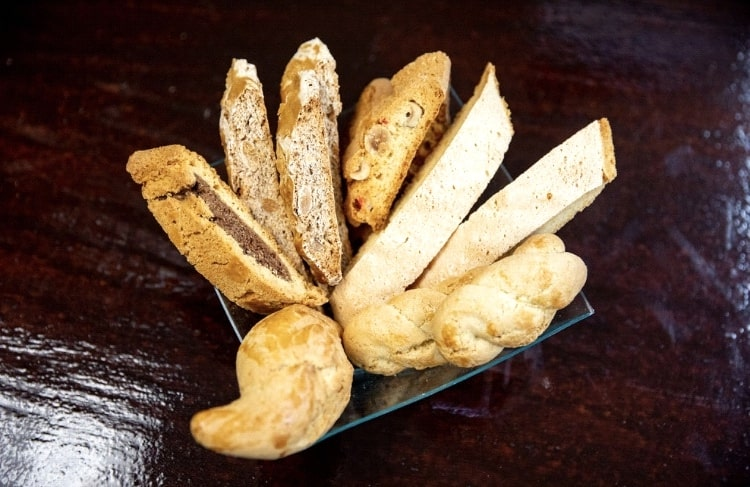 Assorted Italian biscotti in a basket