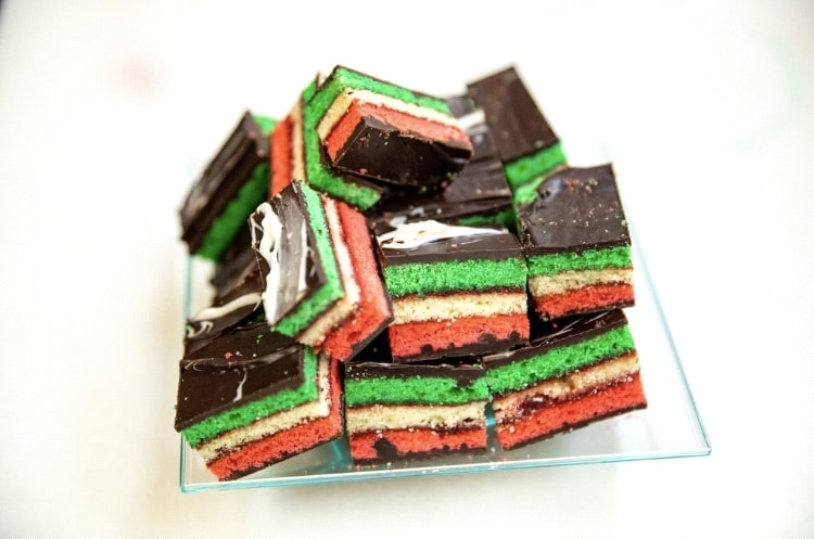 Bloacks of italian rainbow cookies
