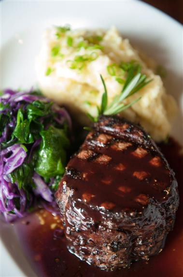 8 oz. Center Cut Filet Mignon with Garlic Sautéed Spinach and Red Bliss Mashed Potatoes