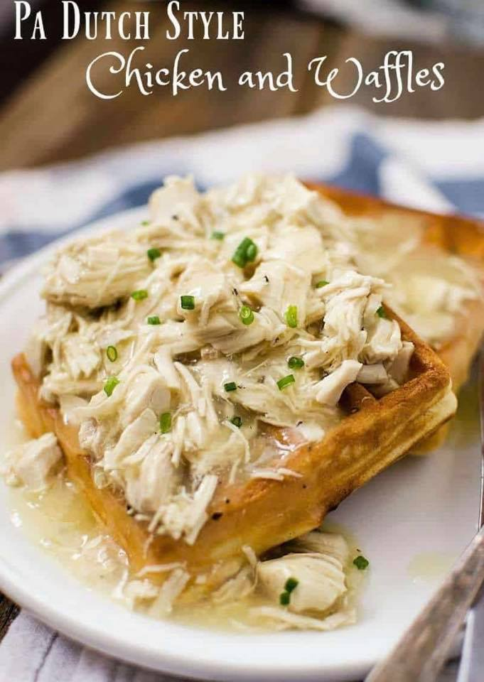 chicken and waffle with scallions