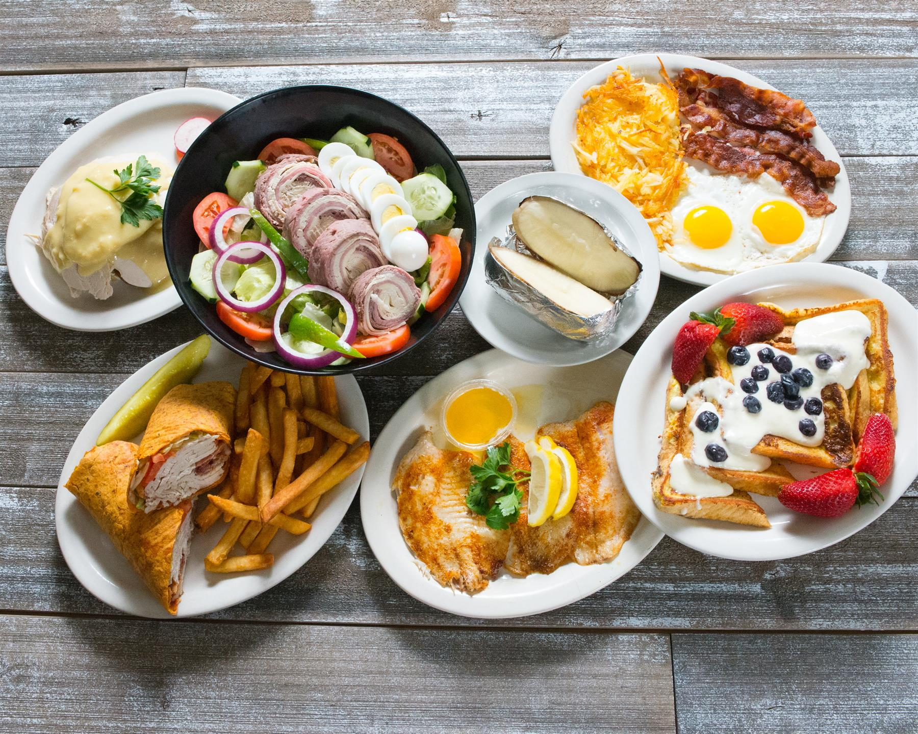 variety of breakfast and wrap items