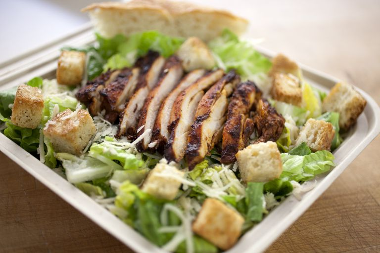 grilled chicken caesar salad with croutons