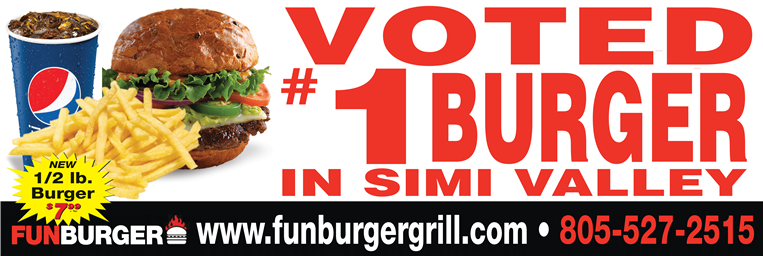 Banner stating restaurant was voted the number one burger in simi valley