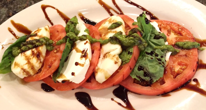 Tomato, basil, and mozzarella with baslamic drizzle