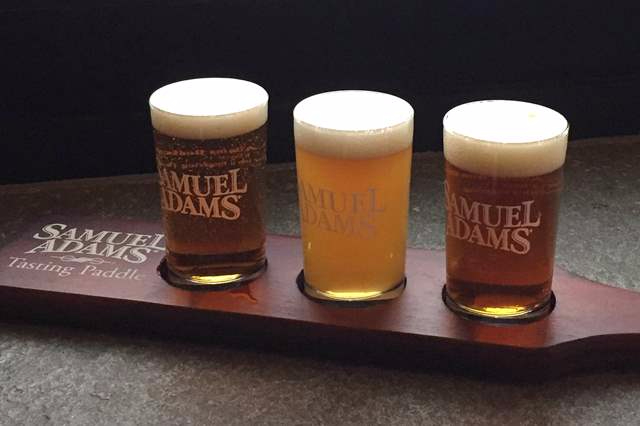 Beer flight with 3 sam adams beers