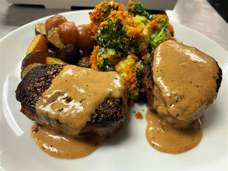 filet, roasted potatoes and broccoli
