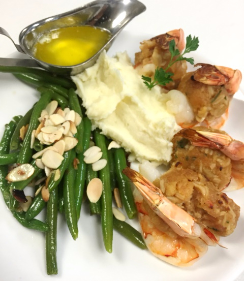 Steamed shrimp with mashed potatoes, string beans, and mashed potatoes