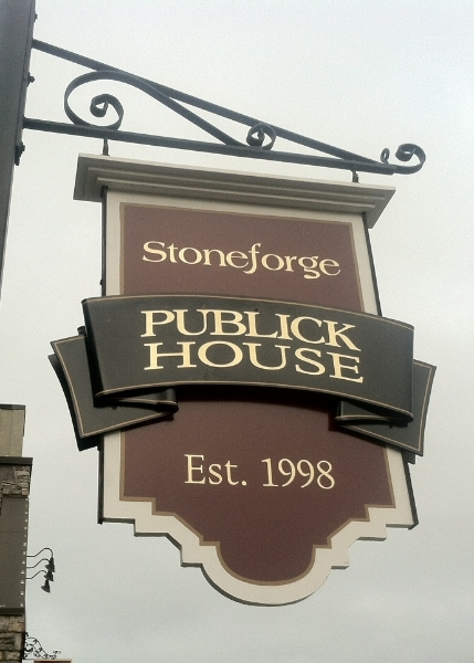 Exterior sign saying Stoneforge Publick House