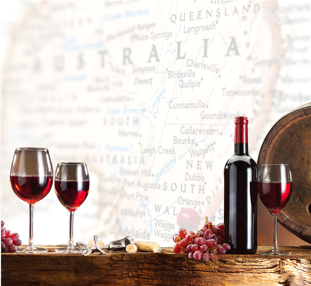 Australian map with wine bottle and glasses
