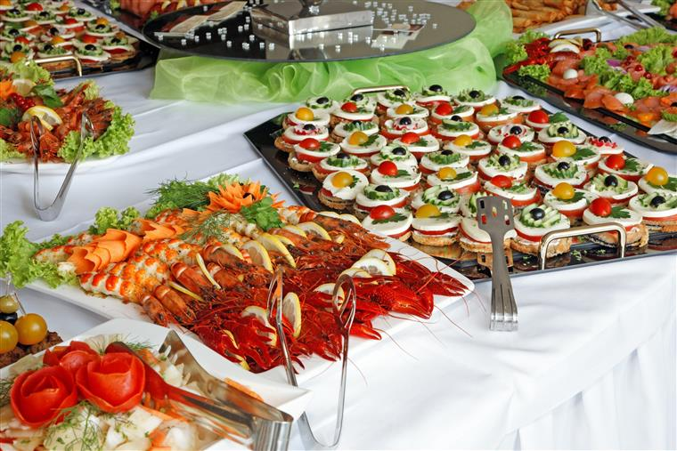 assorted hors d'oeuvres on a table