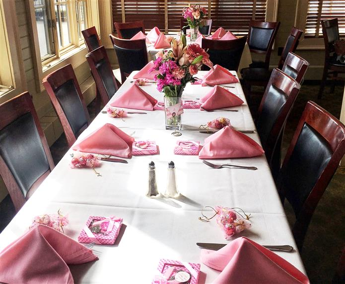 long table setup with napkins and place settings for a shower.