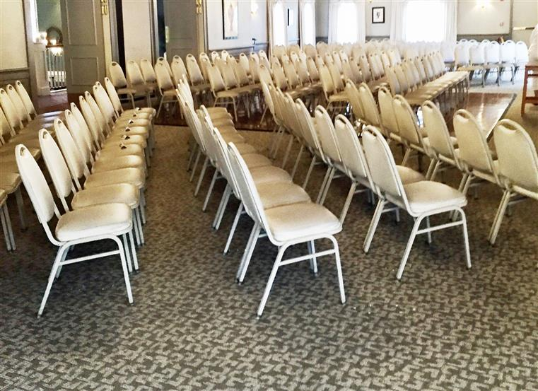 Rows of chairs setup for a conference