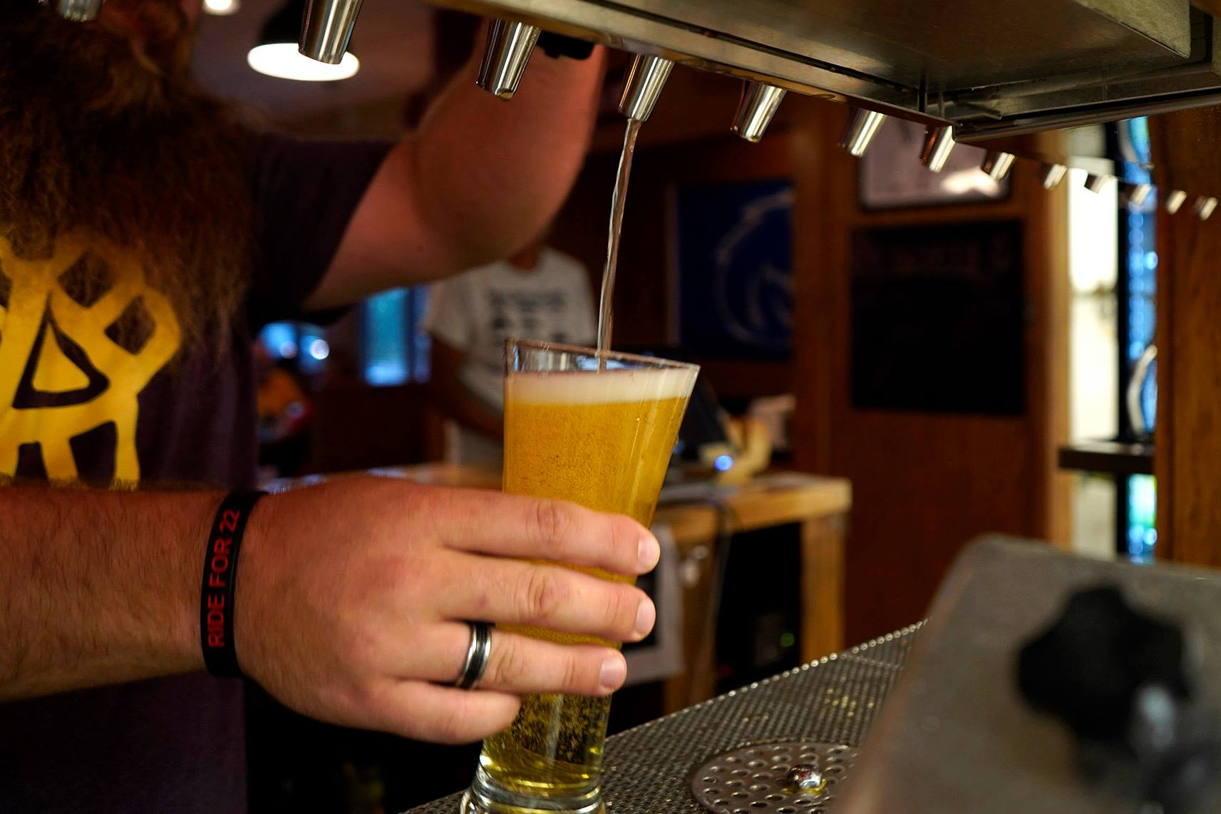 bartender pouring a light beer from the tap into a glass.
