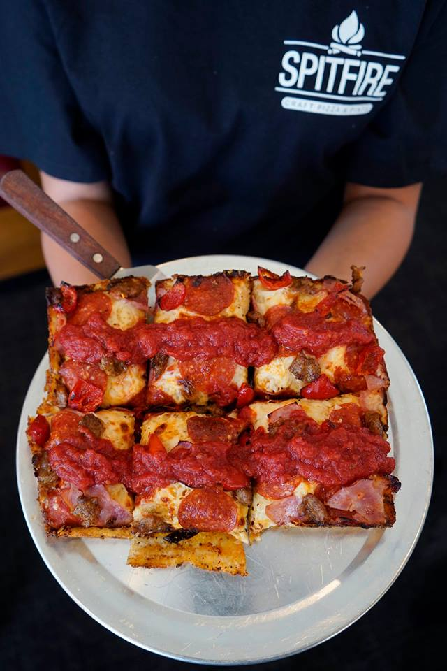 pepperoni square pizza on a plate